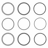 Rope frame. Set of round vector frames from nautical rope. Round marine rope for decoration. Vector