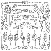 Rope knot. Marine cordage with nautical knots. Navy decoration vector elements