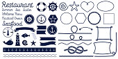 Rope knots. Marine rope knot. Set of nautical rope knots, corners and frames. Decorative elements in nautical style. Vector illustration.