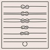 Rope knots collection. Rope swirls. Vector illustration. Marine rope knot. Vector Rope. Set of nautical rope knots, corners and frames. Decorative elements in nautical style.