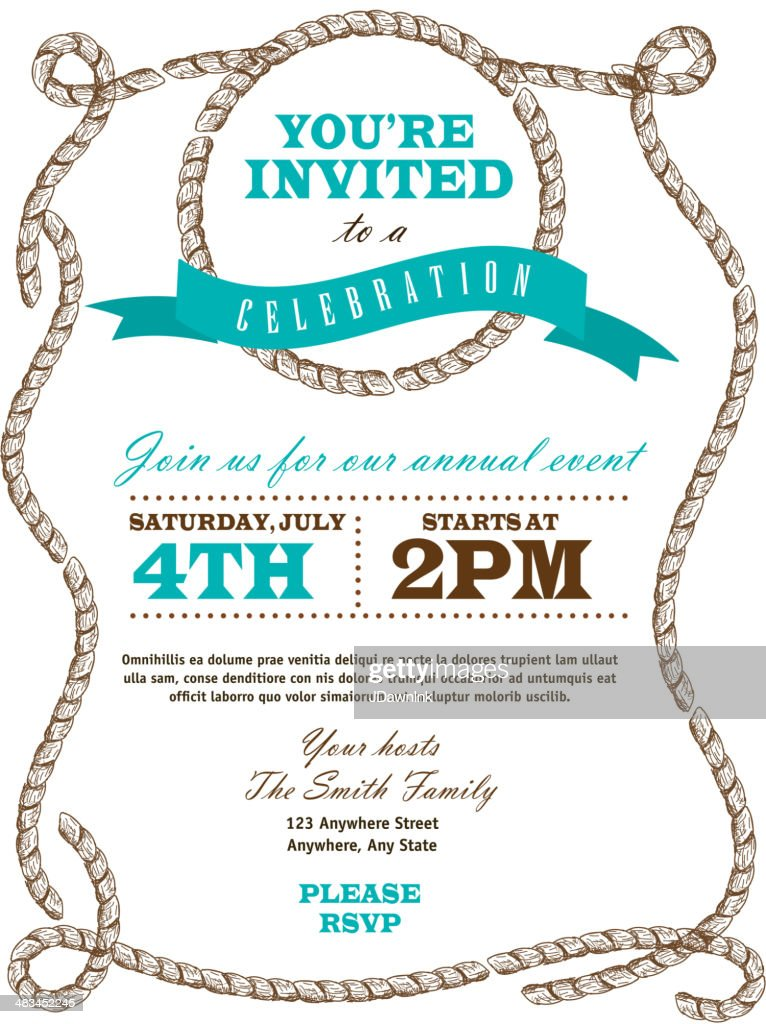 Rope Nautical Or Country Western Frame Invitation Design Template ...