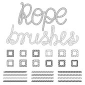 Rope nautical vector pattern brushes set. Rope pattern, nautical rope, design rope set