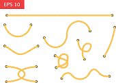 Rope with holes vector illustration.  Set of ropes