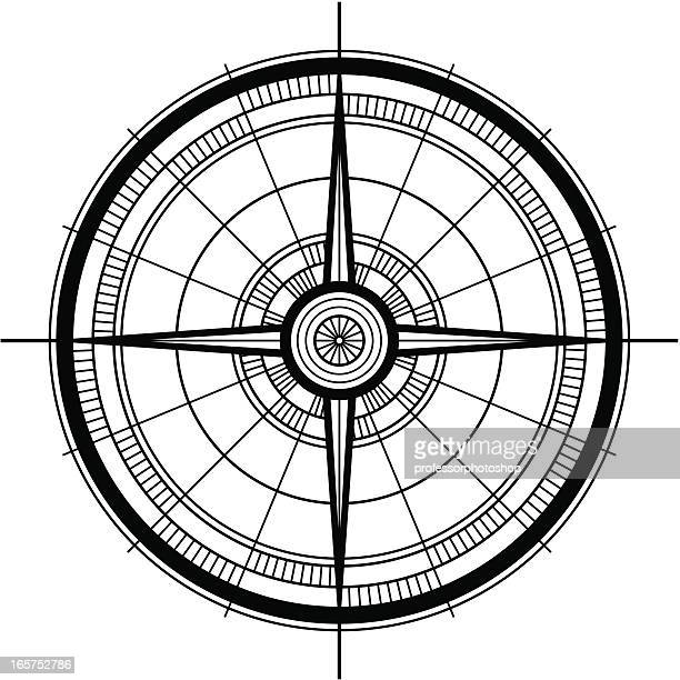 A rose compass on a white background