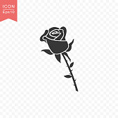 Rose flower icon simple silhouette flat style vector illustration on transparent background.