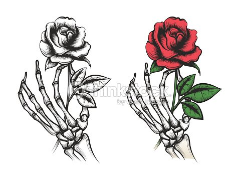 Rose flower in human skeleton hand arte vetorial thinkstock rose flower in human skeleton hand arte vetorial ccuart Images