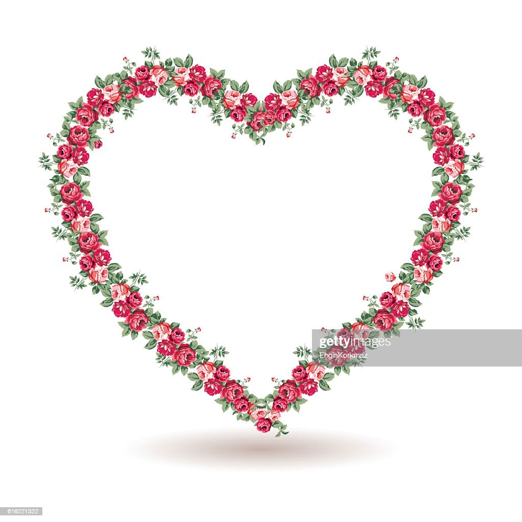 Rose frame with shabby chic roses : Vector Art