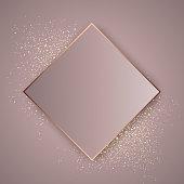 Elegant rose gold background on gold glitter