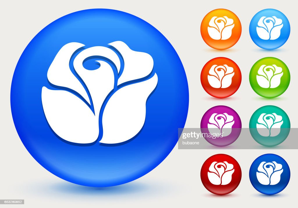 Rose Icon on Shiny Color Circle Buttons : Vectorkunst