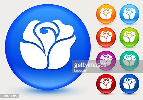 Rose Icon on Shiny Color Circle Buttons : Vector Art