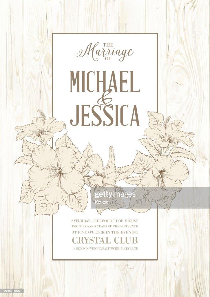 Rose mallow card : Vector Art