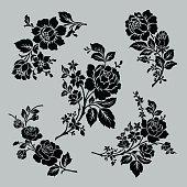 Rose motif set,Flower design elements vector,flower design sketch for pattern,lace edge,flower motif