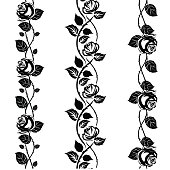 Rose tattoo stencil, lace or pattern brushes elements.