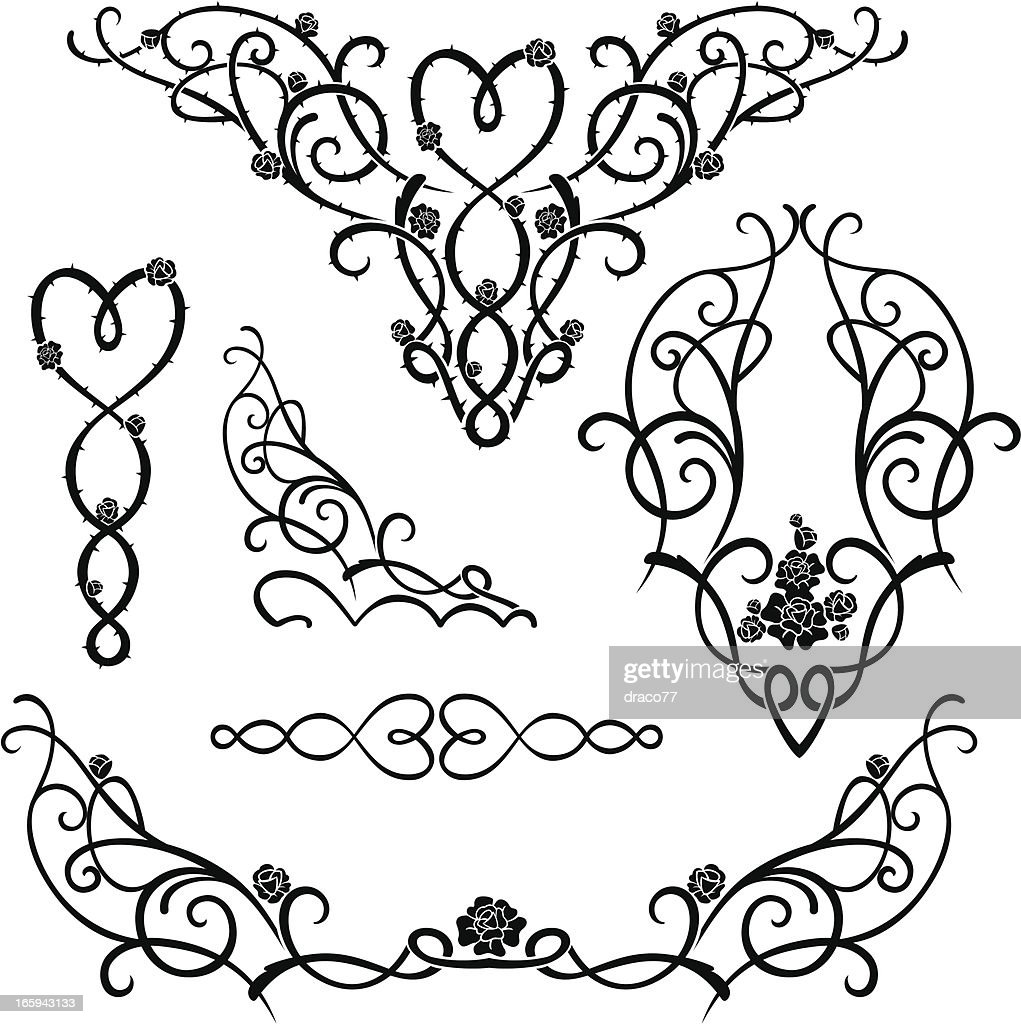 Flower Vine Line Drawing : Rose vine ornaments vector art getty images