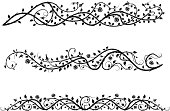 vintage calligraphic set of roses borders