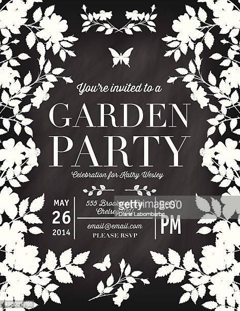 Rose Garden Party Chalkboard modello di invito