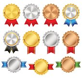 Rosettes with red, green, blue, black ribbons. Rosette premium vector set. Golden, silver, bronze trophy award collection.