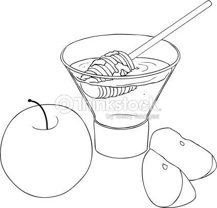 Rosh Hashanah De Miel Con Manzanas Colorear Página Arte vectorial ...