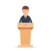 Wooden podium tribune rostrum stand with a man. Speaker standing behind the podium, speaking into the microphones. Flat icon. Vector illustration isolated on white background