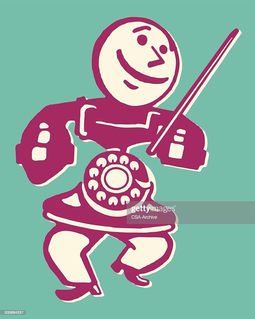Rotary Telephone Man : Vectorkunst