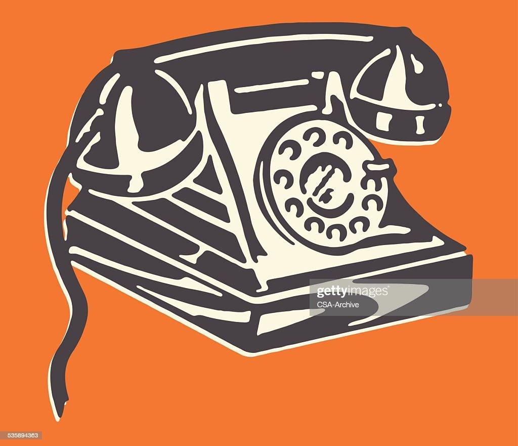 Rotary Telephone : Vector Art