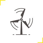 Rotating wind mill icon. Isolated vector illustration