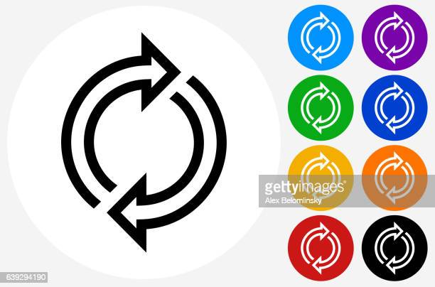 Rotation Arrows Icon on Flat Color Circle Buttons