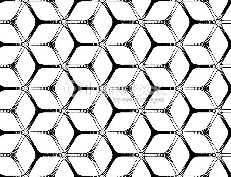 Rough Drawing Styled Futuristic Hexagonal Grid stock vector