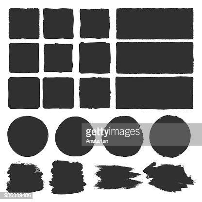 Rough edge box. Hand drawn brush background : stock vector