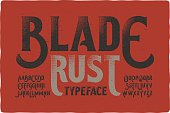 """Blade Rust"" textured rough vintage typeface on bloody dirty background"