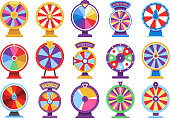 Roulette fortune spinning wheels flat icons casino money games - bankrupt or lucky vector elements. Set of fortune, wheel for casino, success game roulette illustration