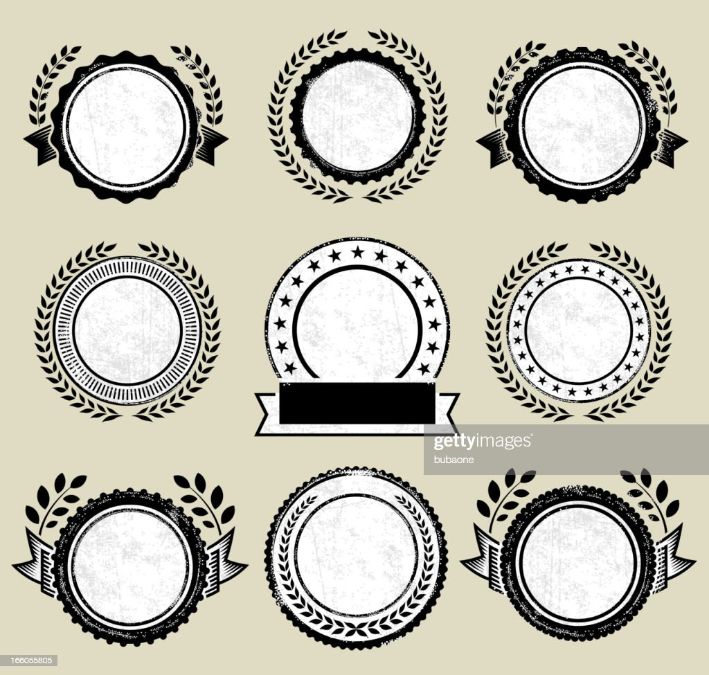 Round Badges on Black and White Grunge Texture : Vector Art