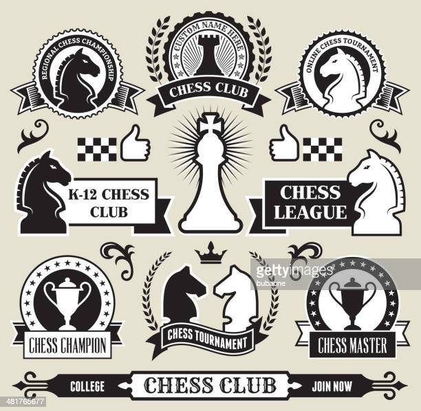 Round Chess Badges on Black and White