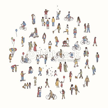 Round circle with tiny people : stock vector
