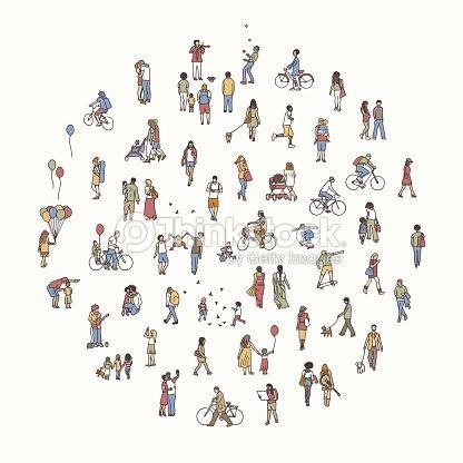 小さな人々 と丸い円 : ベクトルアート