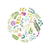 Round banner, greeting card, eco  decoration element with flowers, leaves and herbs, vector illustration isolated in white background. Doodle flowers, leaves and herbs, round decoration element