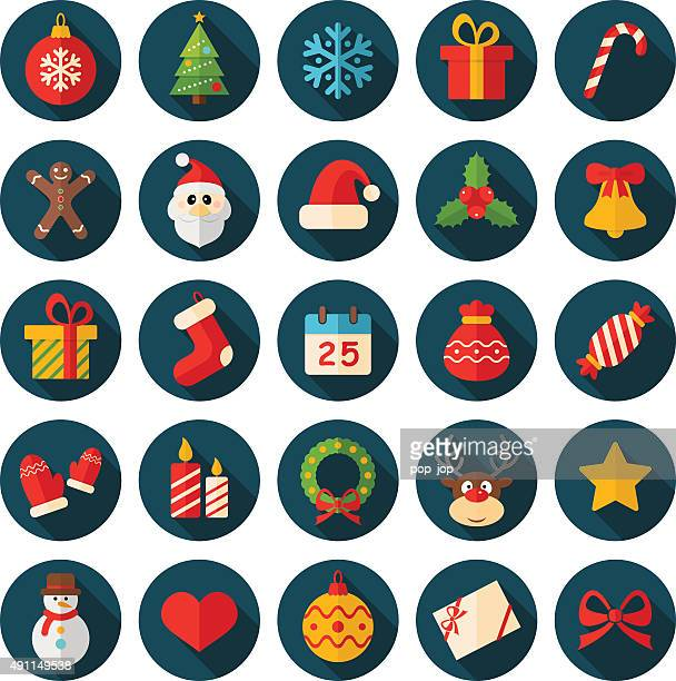 Round Flat Christmas Icons - Illustration