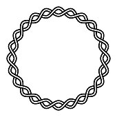 Round frame braided cable, wavy intersecting lines in a circle, vector vignette pattern decoration, ornament