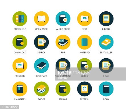 Round icons thin flat design, modern line stroke style : Vector Art