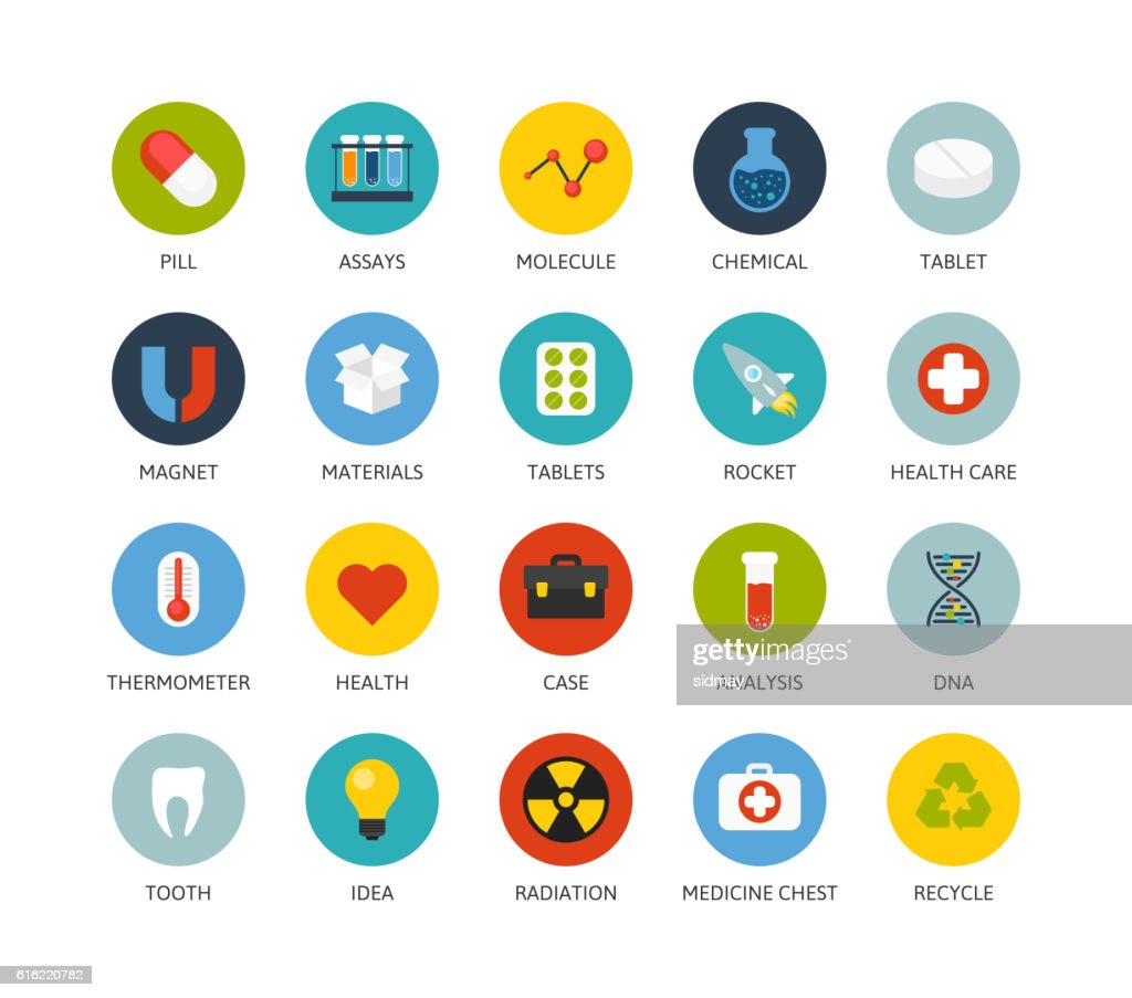 Round icons thin flat design, modern line stroke style : Vector Art