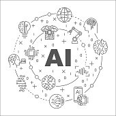 AI round line illustration. Vector circular symbol made with words Artificial Intelligence and technology icons. EPS 10