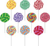 Vector set of colorful round lollipop on white background.