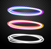 Round light trails vector special effects set with transparency isolated on plaid background. Colorful glowing blue-violet and orange-red rings design elements for decoration