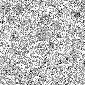 Round ornamental flower and decorative leaves adult coloring pattern. Black and white vector background