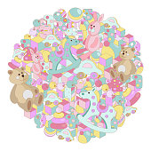 Pastel cartoon doodles baby toy vector illustration. Round picture with lots of teddy bear, rocking horse, rabbit, toy blocks, balls and letters. All objects separate.