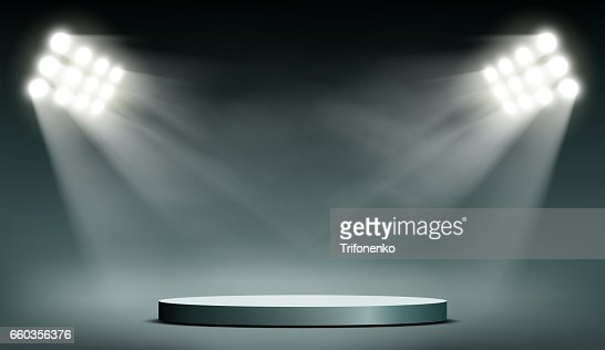 Round podium illuminated by searchlights. : Vector Art