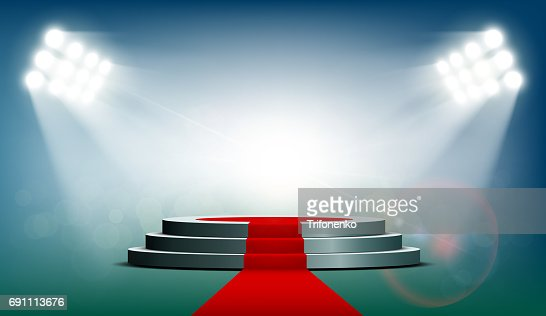 Round podium with a red carpet : stock vector