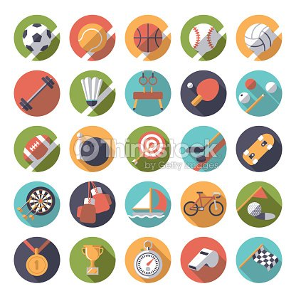 Round sports icons flat design vector set.