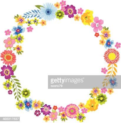 Round Spring Flower Frame : Vector Art
