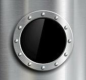 Round window in a metal fuselage. Vector image.